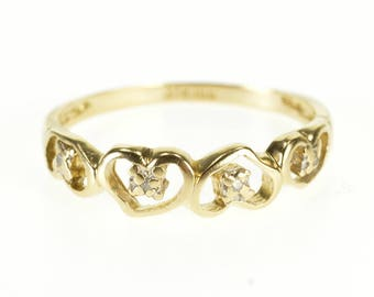 10k Diamond Inset Heart Patterned Band Ring Gold