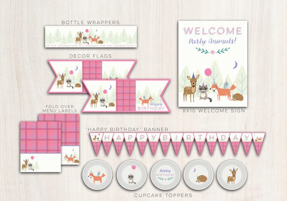 Woodland Party Animals Pack Girls  - Pink Woodland animal party supplies - INSTANT DOWNLOAD
