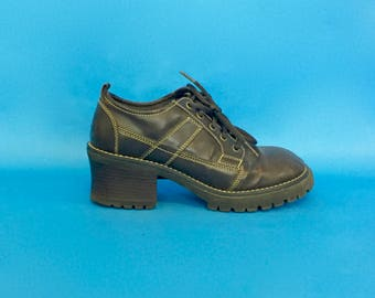 Vintage 90s Brown Lace up Chunky Heel Boots Oxford Tie Shoes 7 1/2