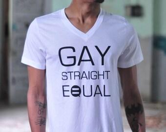White EQUAL Rights V-Neck Shirt