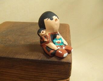 Native American Indian Art - Miniture Storyteller - hand painted sculpture