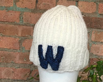 "Hand Knit Chicago Cubs ""W"" Beanie"