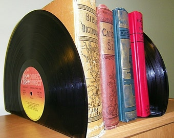 Record Albums made into Bookends Book Ends for Office Retro Home Decor Vintage Vinyl Records