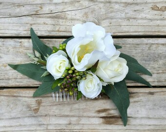 White Lisianthus Hair Comb featuring silk roses lisianthus eucalyptus rustic bridal hair clip