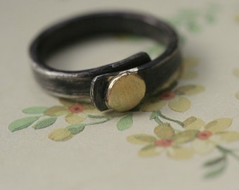 oxidized sterling silver and 14k gold slice ring