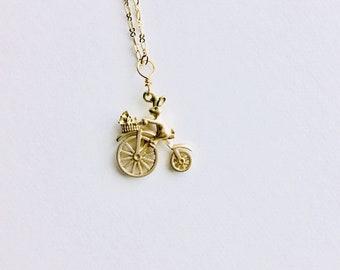 Bunny on Bike Aromatherapy Necklace