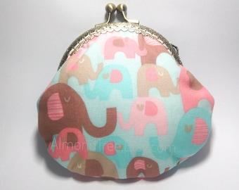 Elephant, snap clasp purse, handmade kisslock snap metal frame pouch id171017, portefeuille, portemonnaie