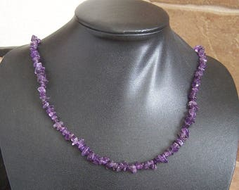 Amethyst Tumbled Chip Necklace