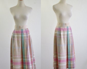 Vintage Inverted Pleat Skirt, Pastel Plaid 80s Skirt, 1980s Checked Skirt, Pastel Skirt, Knee Length Skirt, Checked Skirt, Waist 32 Large XL