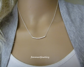 Tube Necklace Sterling Silver or Gold Curved Necklace - Tube Pendant - Curved Pendant