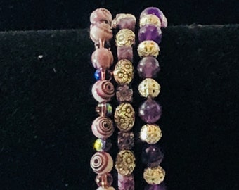Set of 3 Stretchy Beaded Bracelets in Purples