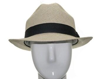 UNIQUE PACKABLE Fedora  straw Hat Stingy Brim