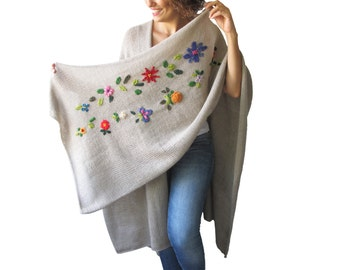 NEW! Beige Pelerine - Poncho with Flowers by AFRA