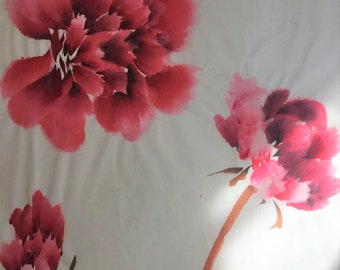 3-Stage Red Peony Chinese Freestyle Painting By 廖湘霞