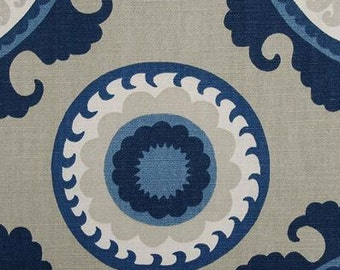 Navy and Beige Medallion Custom Drapes Duralee Ponderosa Bluestone Drapery Panels, Geometric Print, Rod Pocket Panels Modern Drapes