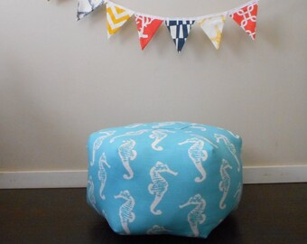 Large Pouf in Seahorse Fabric, Beach chic decor, Nautical floor cushion, beach pouf ottoman, stool