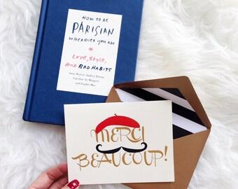 CUTE THANK YOU Card | Stylish Thank You Card | Merci Thank You Card | Thank You Card | Simple Thank You Card | Merci Beaucoup Card | Merci