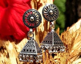 Summer Sale 50% 925 Sterling Silver Jhumka Earrings, Indian Earring, Indian Jhumka,  Antique Finish Jhumka, Oxidised Boho Earrings , Traditi