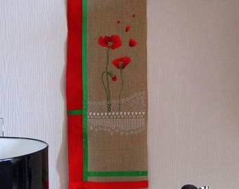 Band wall poppies embroidered cross stitch