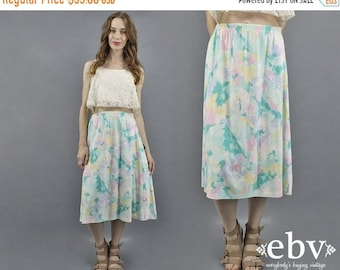 Blanc Midi jupe Midi Floral jupe 80 s 90 s jupe jupe d'été en jupe blanche T Shirt jupe jupe florale Pastel Pastel jupe Pâques jupe M