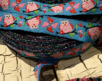 """3/8"""" Woven OWL PINK on Blue Jacquard ribbon sold by the yard"""