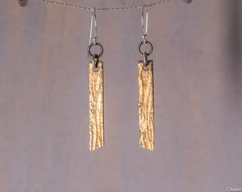 24k Gold Sterling Silver Textured Gold Strip Earrings