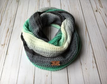 Hilltop Scarf, Mint & Gray - crocheted scarf -  infinity scarf - ombre infinity scarf - spring scarf - vegan scarf - crocheted scarves
