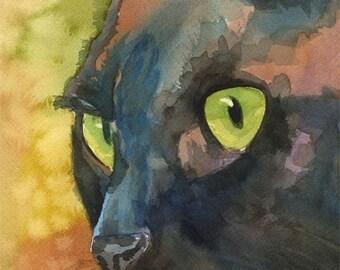 Black Cat Art Print of Original Watercolor Painting  - 11x14 Cat Art