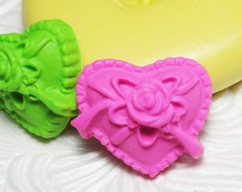 RIBBON HEART Mold Valentine Flexible Silicone Rubber Push Mold for FIMO Pmc Resin Wax Fondant Clay Ice