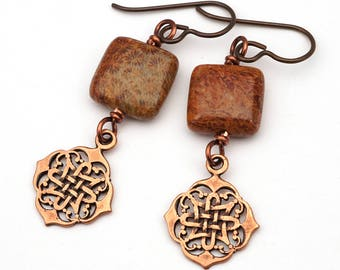 Rust red copper Celtic earrings, fossilized coral beads, Celt knot jewelry