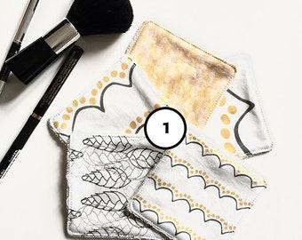Lingettes démaquillantes lavables - lots de 5 carrés de coton bio - designs exclusifs La Modette - zéro déchet - éponge bio coton OekoTex