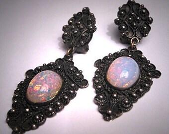 Antique Victorian Opal Earrings Etruscan Revival Silver