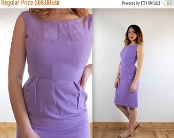 MEMORIAL DAY SALE Vintage 1950's Lilac Linen Wiggle Dress