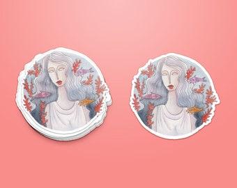 Sticker - Woman & Fish ~ Lucile Farroni