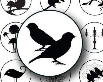 Black and White Silhouette Birds and Swirls in 1 inch circles -- piddix digital collage sheet 603