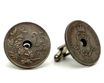 "Authentic ""Belgium"" 25 centimes coin cuff links. TMPL_SKU004771"