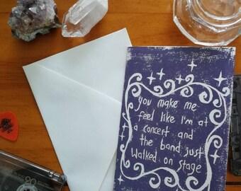 Linocut print love card or friendship card with a music theme. Original hand printed card.