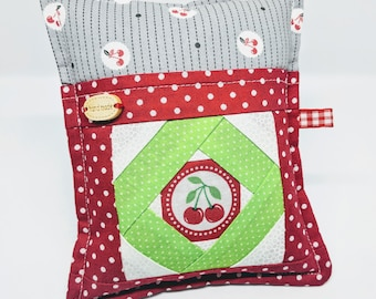 Cherries in June -Deluxe Pincushion -  Handmade - Pincushion with Pocket - Gift for Quilters - Gift for Sewers - Gift for Mom