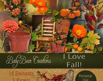 Digital Scrap Kit in the colors of fall.