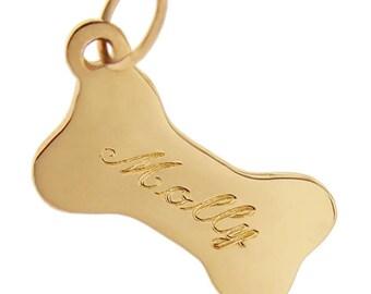 Dog Bone 14k Gold Charm