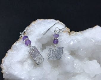 Precious Metal Clay Amethyst Earrings