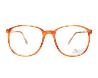 orange brown vintage eyeglasses - big square nerd glasses - large oversized tortoise frames - new old stock - sable 632