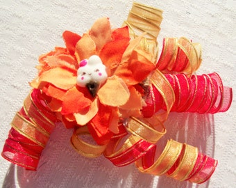 Orange and Yellow Curly Ribbon BARETTE,Party Barrette,ICE Cream Barrette,Hair Barrette,Hair Accessories,Little Girl Orange Yellow Barrette