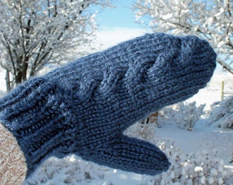 Subtle cable knit mittens, winter mittens in lots of colors, inlaid cable knitted mittens in woman, child, toddler, and baby sizes