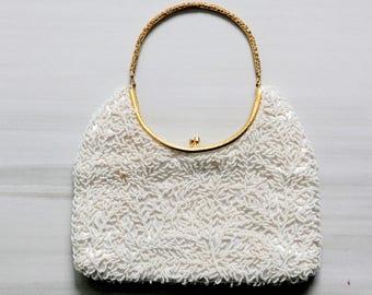 Vintage White Beaded Handbag | Satin Interior | Wedding | Gold Handle | Clutch | Bride | Dance