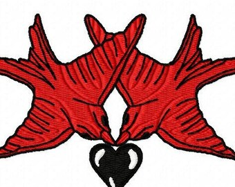 Birds and Heart  Machine Embroidery Design...3039