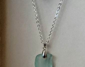 Sea Glass Pendant - Naturally Tumbled Bottle-Neck Piece.