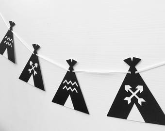Teepee Tent Garland in Black and White. Baby shower or birthday party, bunting, banner, dessert table. Party banner, arrow and zig zag.