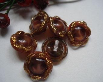 Vintage Glass Buttons # Set of 6 # Flea market buzz