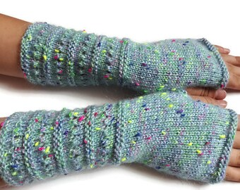 Fingerless gloves - Arm warmers  - Long Fingerless Mittens - Hand warmers Multicolored